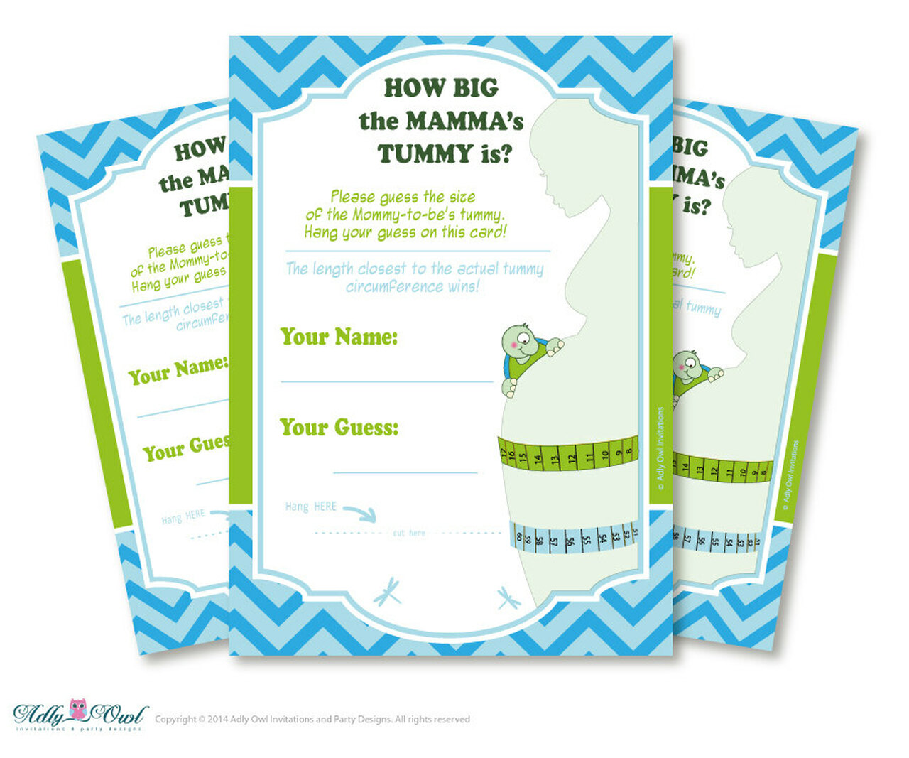 Boy Turtle How Big the MAMMA's TUMMY is Game, guess belly game Printable  Card for Baby Turtle Shower DIY Blue Green Chevron