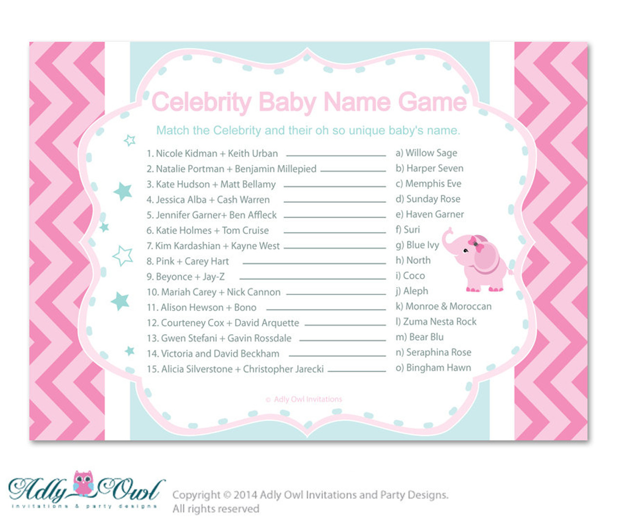 picture regarding Celebrity Baby Name Game Printable referred to as Lady Elephant Superstar Reputation Recreation, Bet Movie star Little one Reputation recreation, well known youngster names Elephant Shower Do it yourself Aqua Red Teal