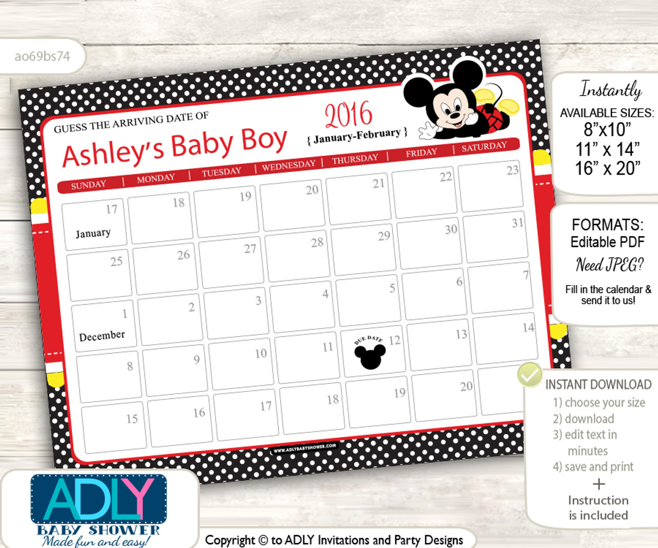 Black And Red Baby Boy Due Date Calendar Mickey Mouse Theme DIY
