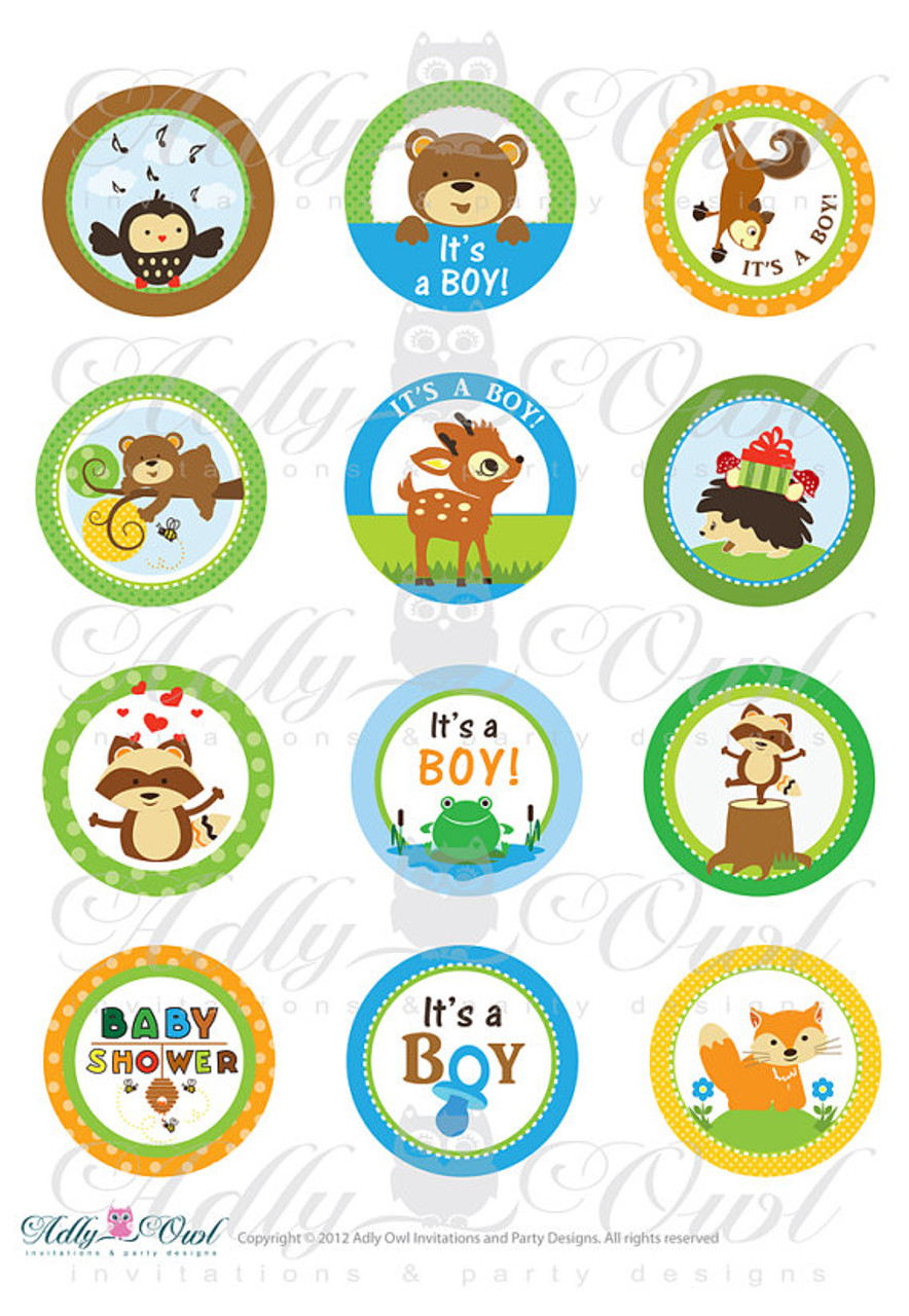 Boy Woodland Forest Animals Baby Shower Cupcake Toppers Or Favor