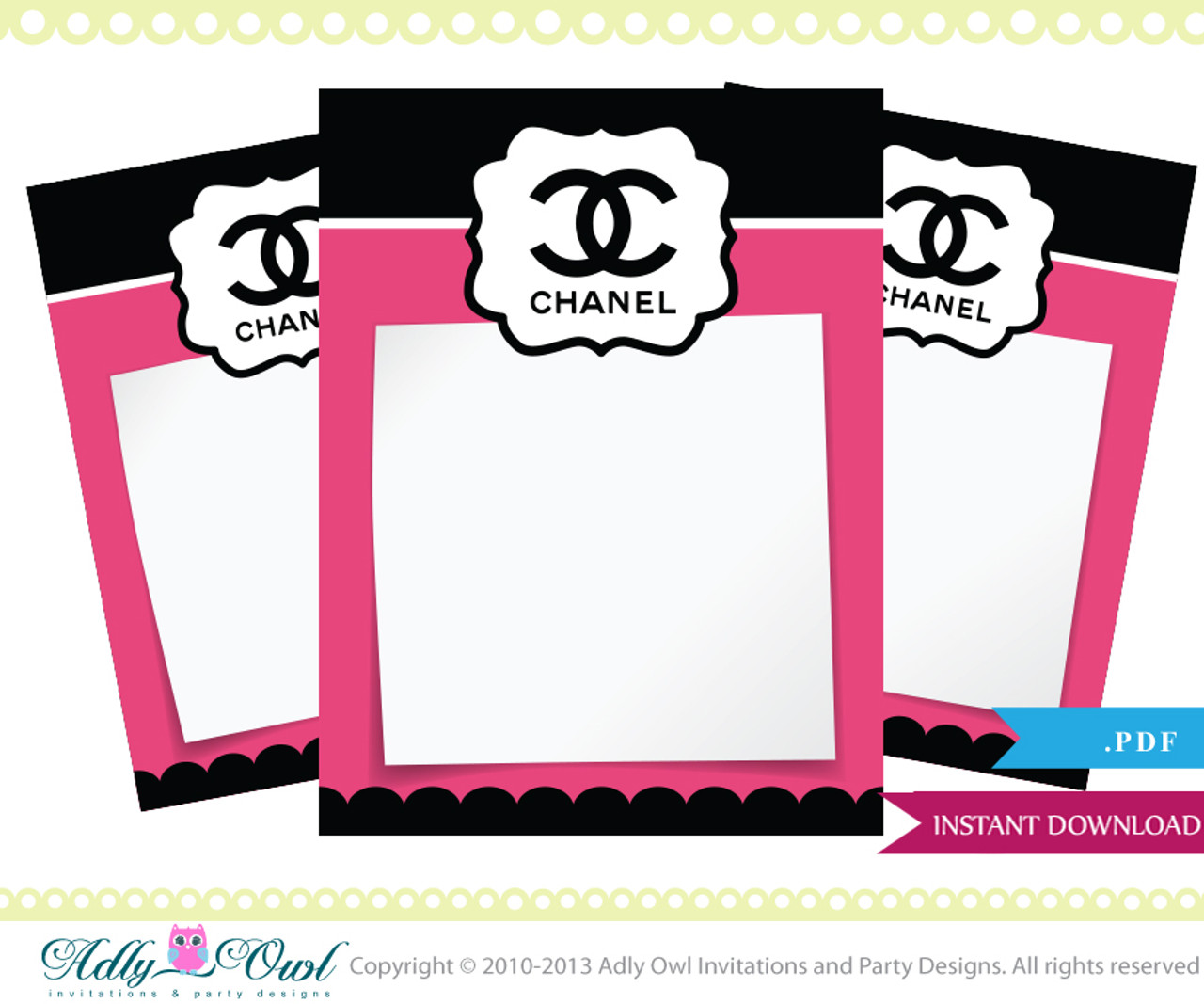 Coco Chanel Thank You Tiny Notes Printable Diy Party A High Fashion