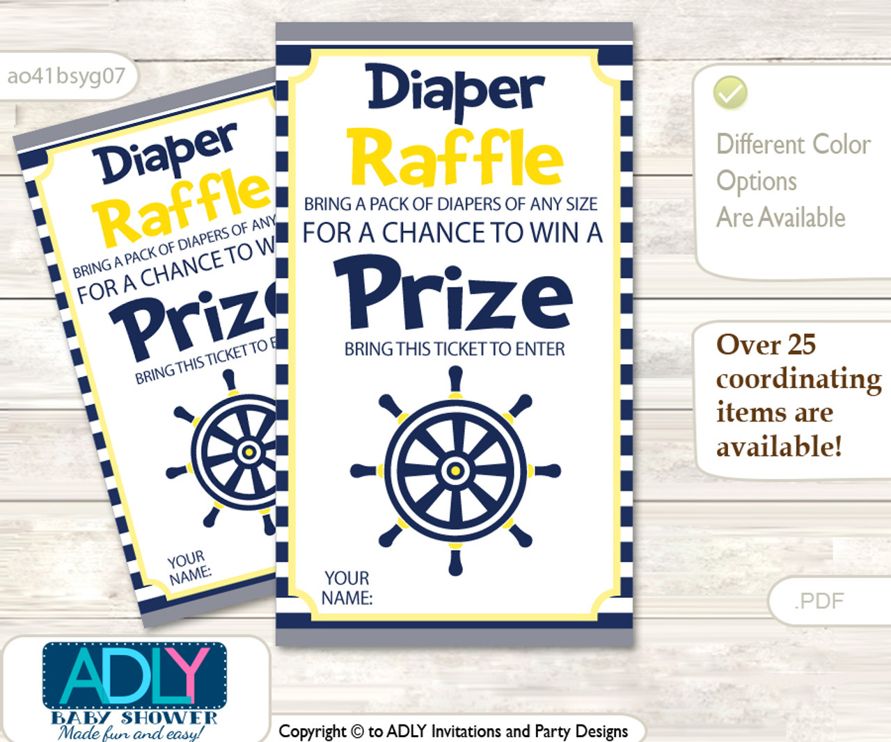 image regarding Tickets Printable titled Nautical Boy Diaper Raffle Printable Tickets for Kid Shower, Armed forces, Gray