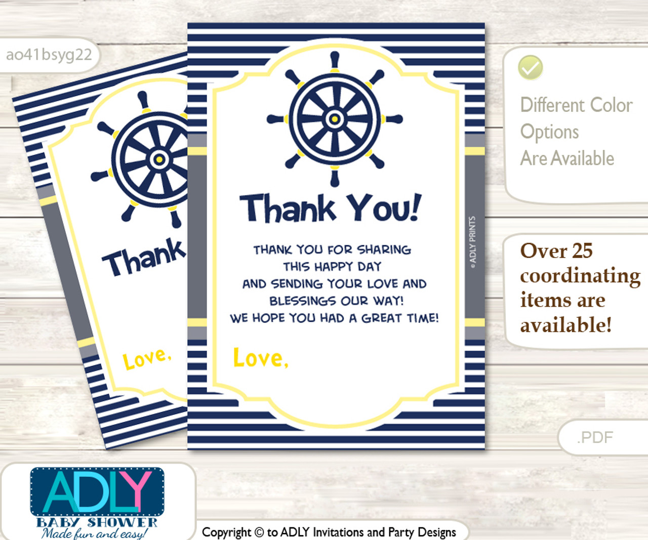 34632c997 Nautical Boy Thank you Cards for a Baby Nautical Shower or Birthday DIY Navy