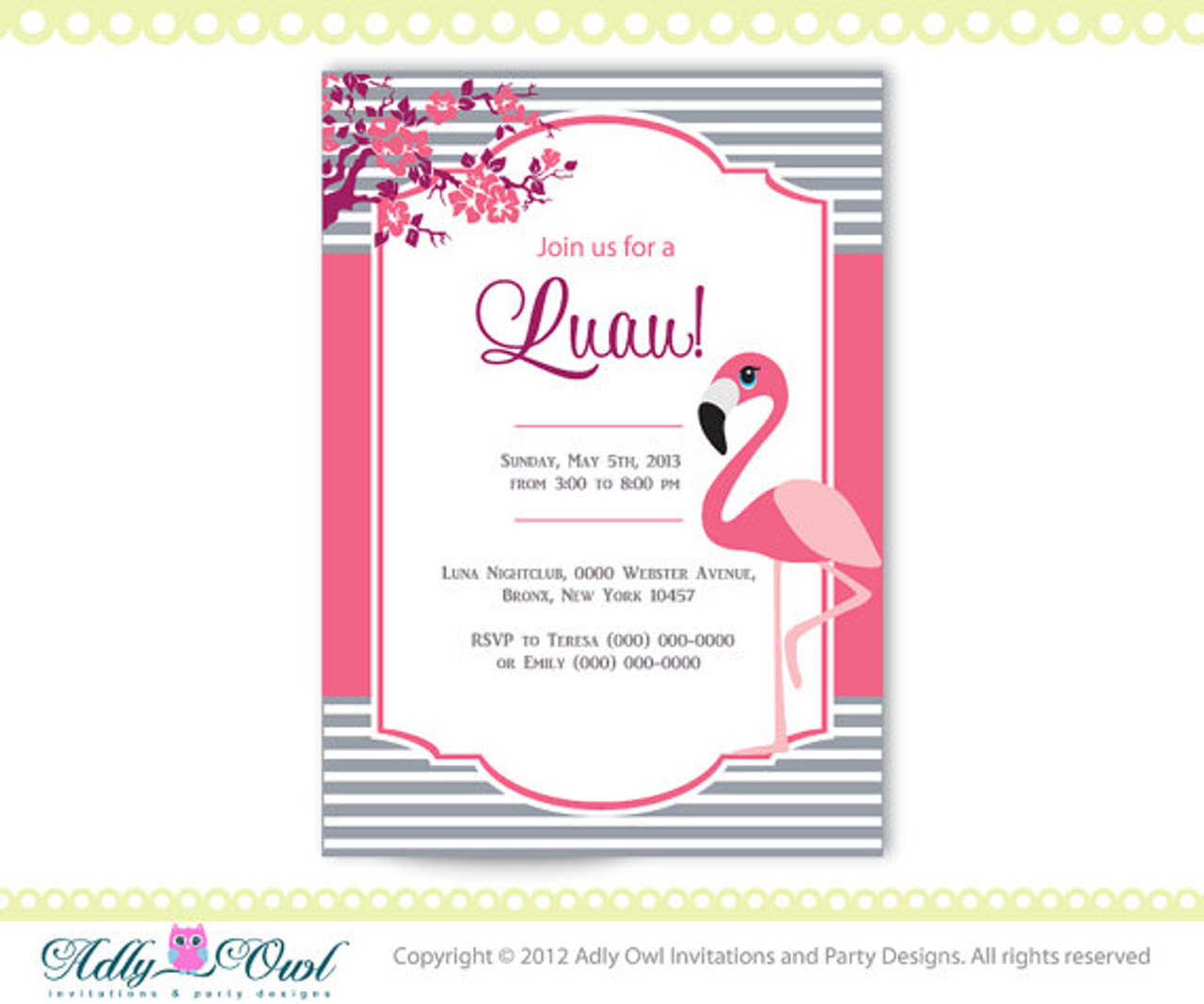 Personalized Luau Party Printable With Pink Flamingo DIY Invitation For A Partybaby Shower ONLY Digital File