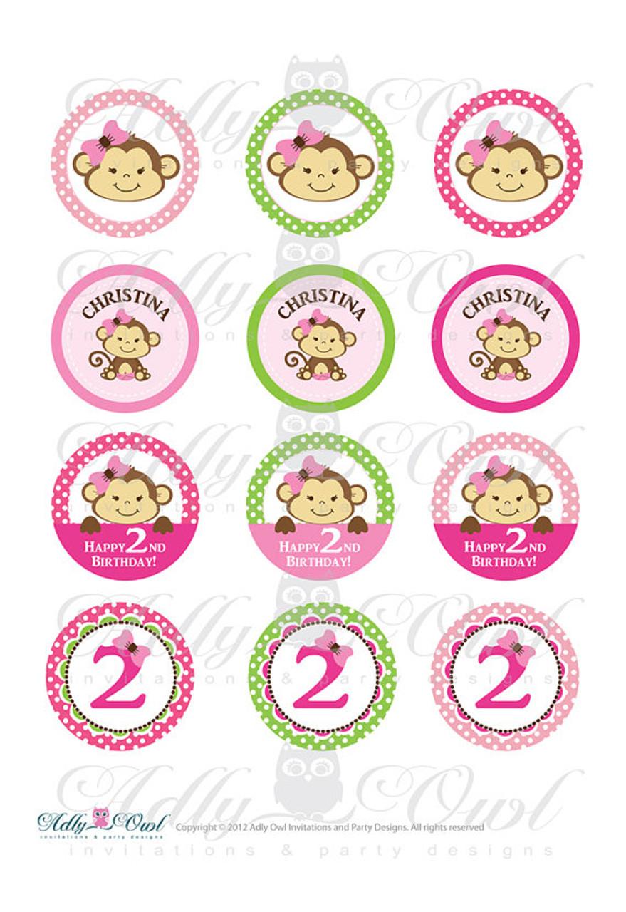 b4191cd1828 Pink Girl Monkeys Birthday Cupcake Toppers or Favor Tags Printables ...