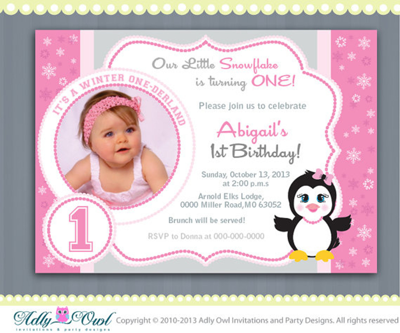 Pink Snowflake Penguin Girl Happy Birthday Invitation Printable DIY For First Winter