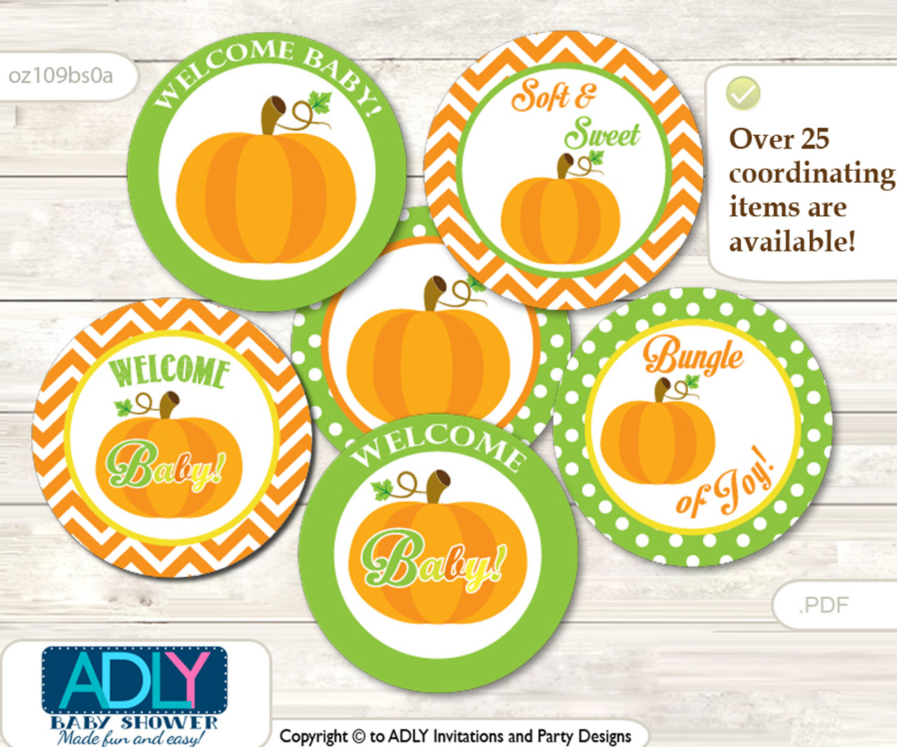 Baby Shower Neutral Pumpkin Cupcake Toppers Printable File For Little Neutral And Mommy To Be Favor Tags Circle Toppers Chevron Green Orange Adly Invitations And Digital Party Designs