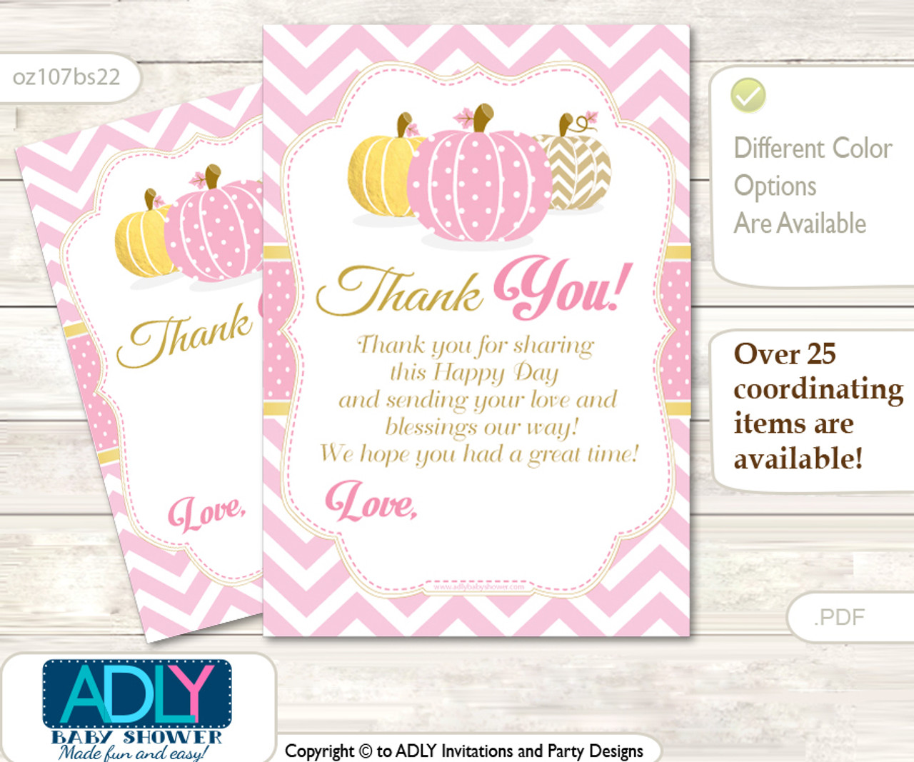 Girl Pumpkin Thank You Cards For A Baby Girl Shower Or Birthday Diy