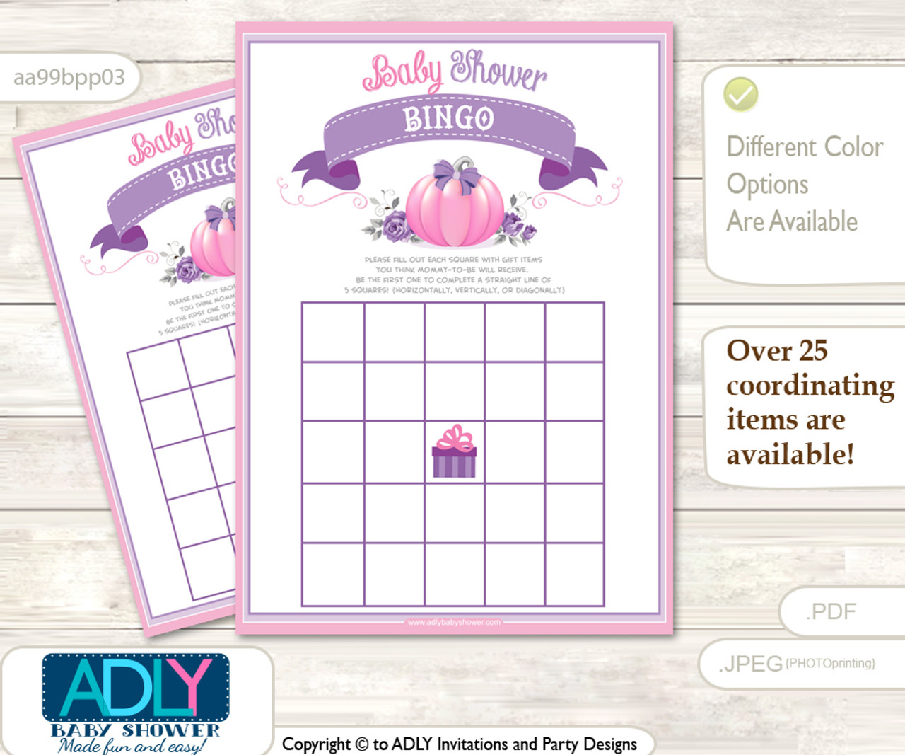 picture regarding Baby Shower Bingo Cards Printable named Printable Crimson Pumpkin Bingo Video game Printable Card for Youngster Woman Shower Do it yourself gray, Purple, Puprle