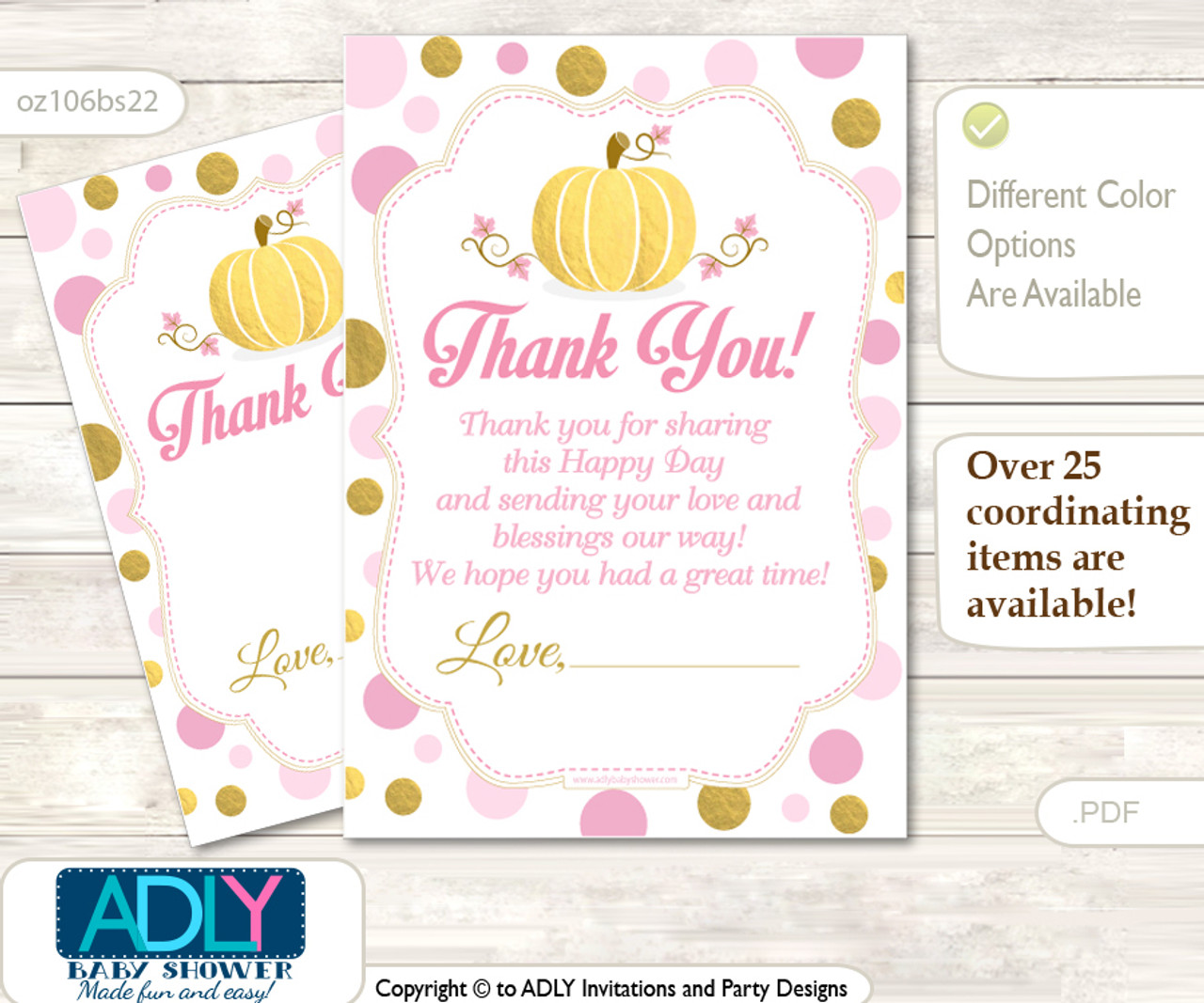 Gold Pumpkin Thank You Cards For A Baby Gold Shower Or Birthday Diy