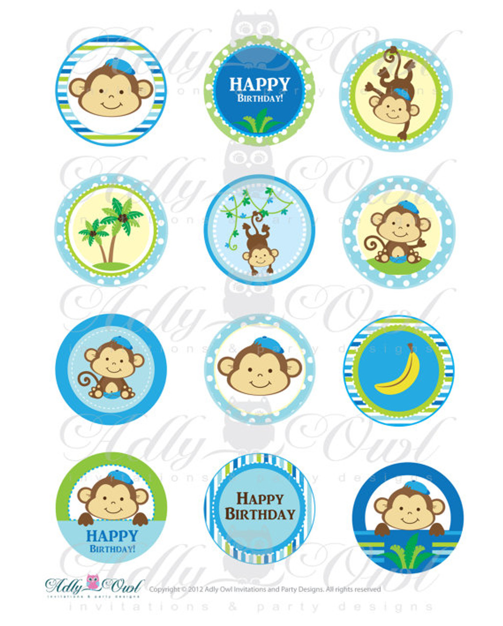 Boy Monkeys Birthday Cupcake Toppers Or Favor Tags Printables DIY