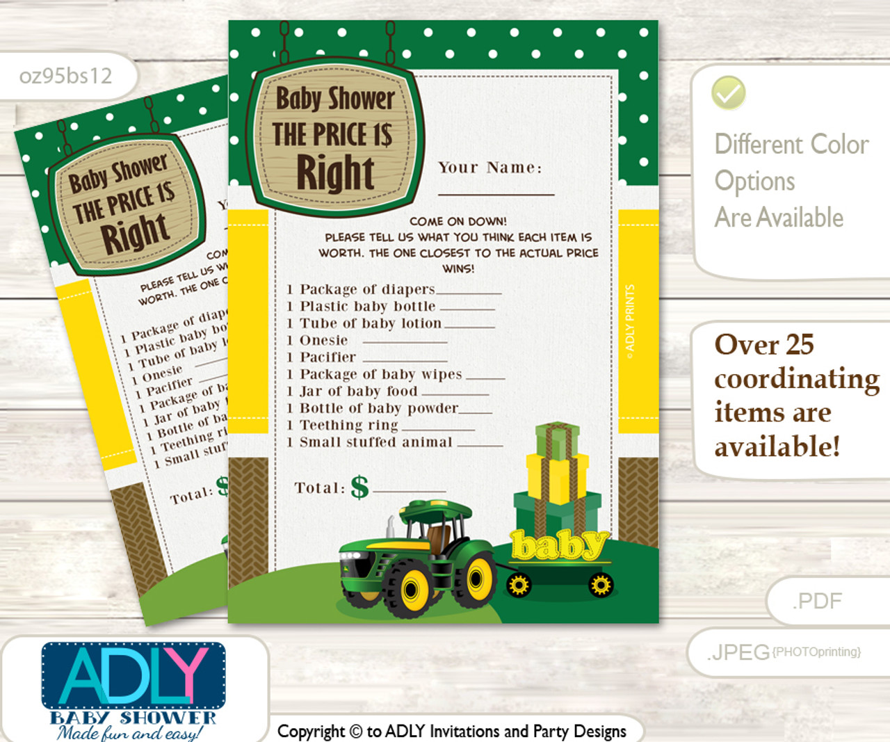 photograph regarding Baby Shower Price is Right Printable called Printable Boy Tractor Expense is Straight Recreation Card for Kid Tractor Shower, inexperienced Yellow, Farm