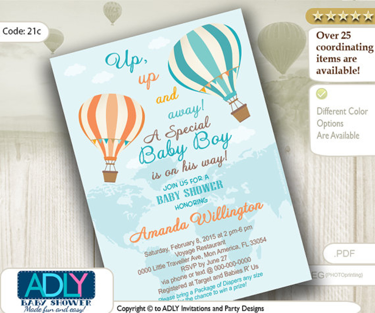 Pastel Turquoise Peach Hot Air Balloon Boy Baby Shower Invitation Oh