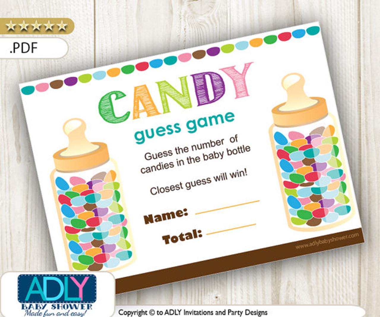 Guess Candy Printable Game Card Guess How Many Candies In The Baby Bottle How Many Candies Game Suitable For All Themes Neutral Adly Invitations And Digital Party Designs
