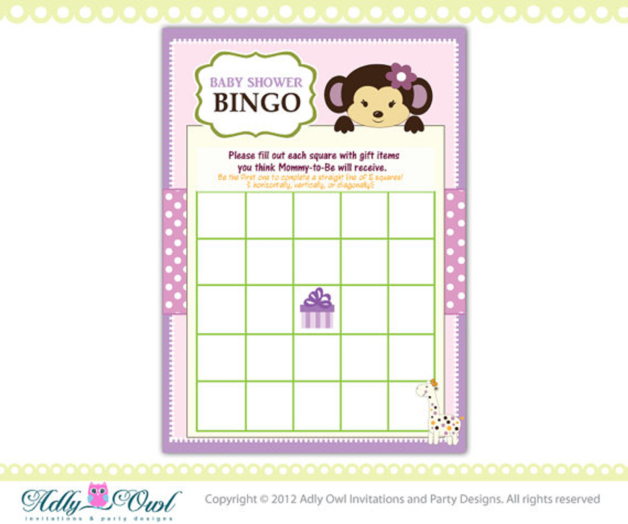 picture regarding Baby Bingo Printable named CoCaLo Jacana Child Bingo Recreation Printable Card for Boy or girl Woman Shower Do it yourself - Just electronic report - on your own print