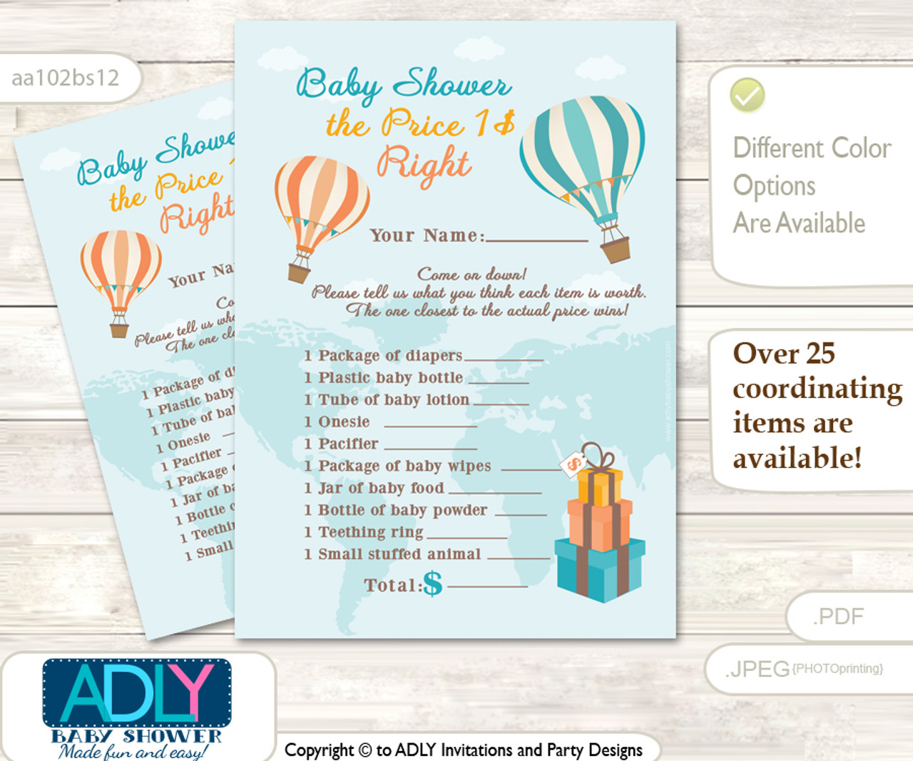 picture regarding Baby Shower Price is Right Printable identified as Printable Impartial Air Balloon Expense is Instantly Activity Card for Child Air Balloon Shower, Coral Teal, Up and Absent