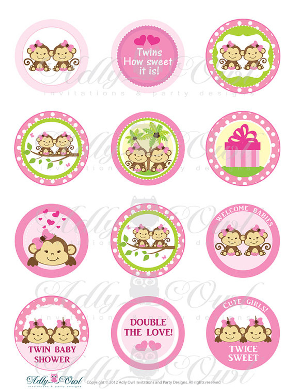 b43e5cfe1ea Pink TWIN Girl Monkey Baby Shower Cupcake Toppers or Favor Tags Printables  DIY