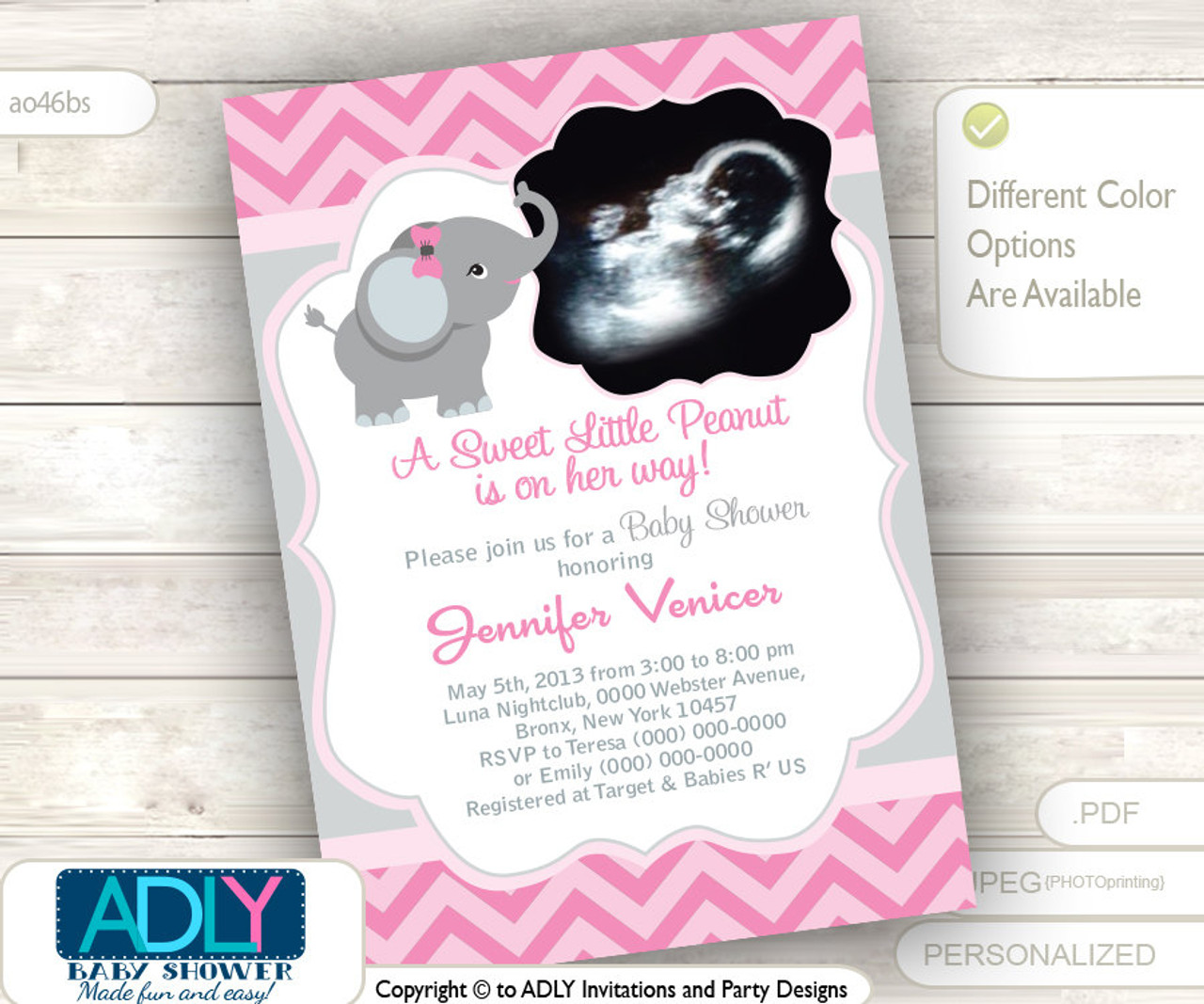 Pink Grey Elephant Ultrasound Photo Baby Shower Invitation For Girl