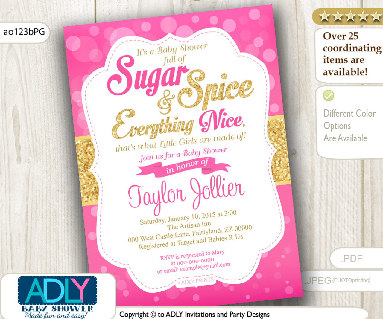 Hot Pink Fuschia And Gold Sugar And Spice And Everything Nice That Little Girls Are Made Of Invitation Adly Invitations And Digital Party Designs