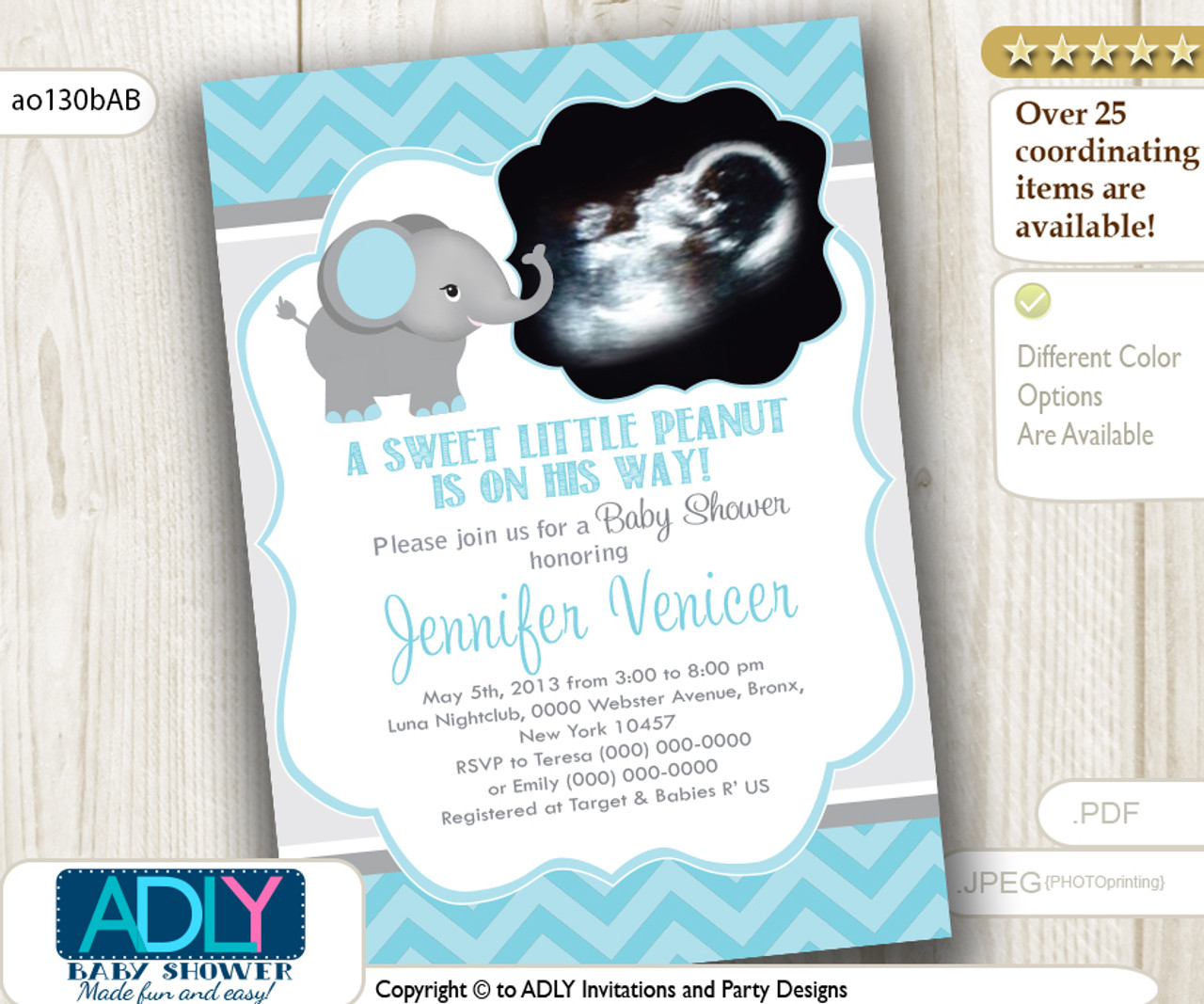 09a23a0b4 Mint/Light Turquoise Grey Elephant Ultrasound Photo Baby Shower invitation  for a Boy, chevron - ADLY Invitations and Digital Party Designs