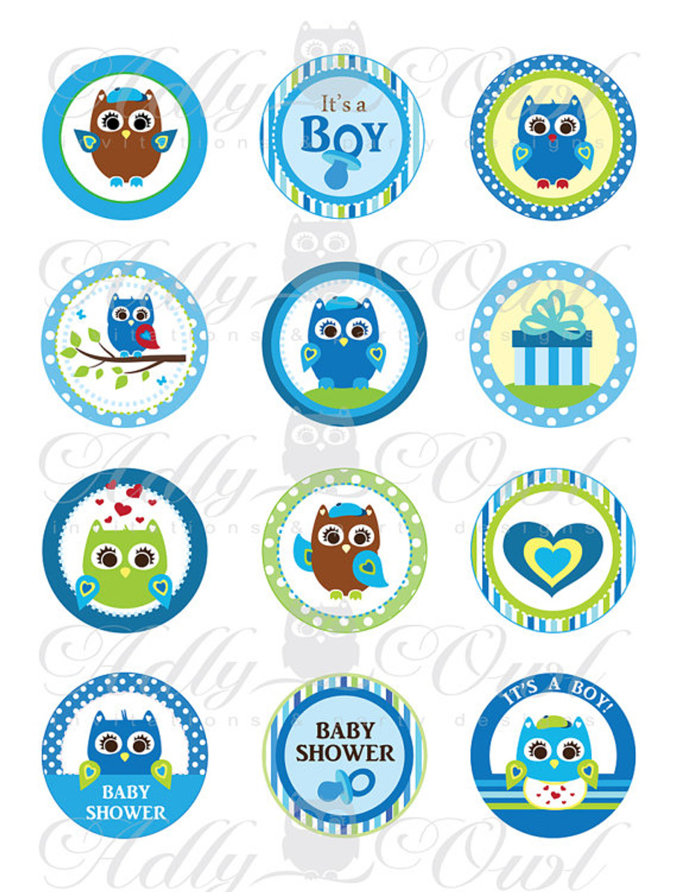 image regarding Baby Shower Tags Printable referred to as Blue Owl Boy or girl Shower Cupcake Toppers or Prefer Tags Printables Do-it-yourself, its a boy owl inexperienced brown tags - Simply electronic report - by yourself print