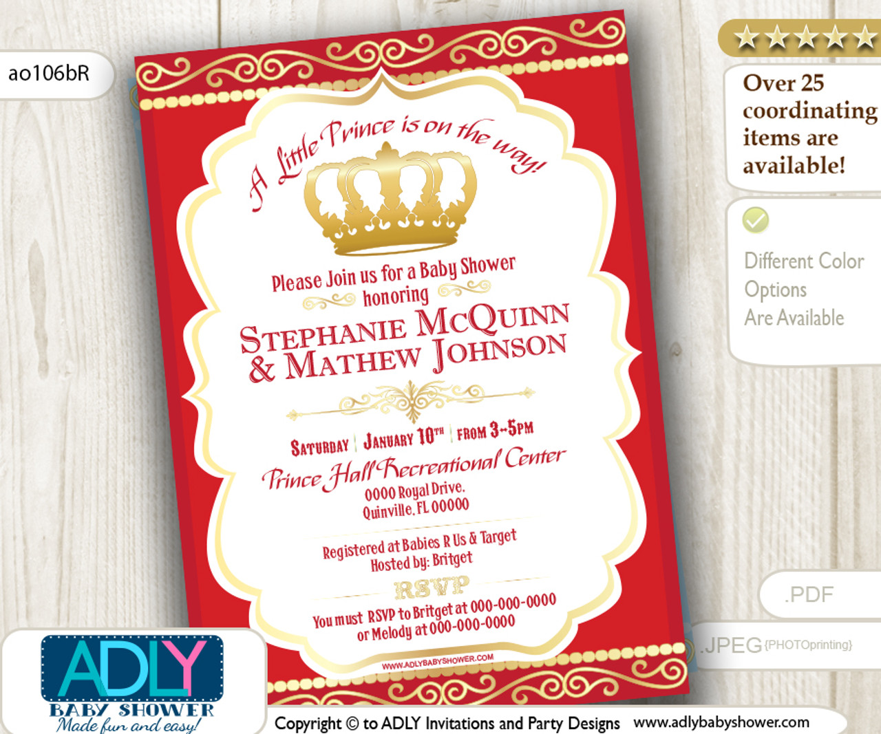 Red Gold Prince King Baby Shower Invitation Adly Invitations And