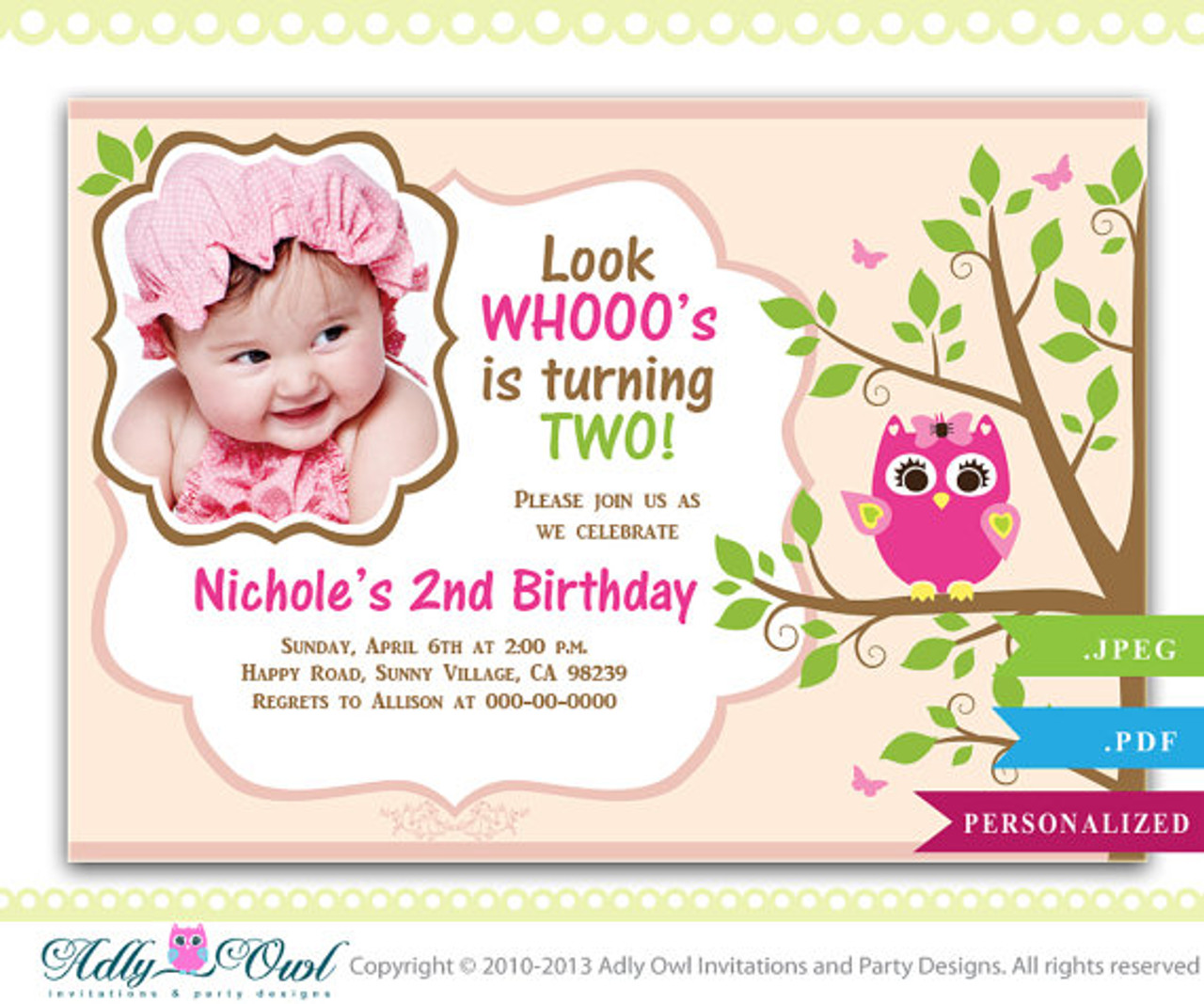 Girl Owl Birthday Invitation With Photo 1st 2nd Printable Biscuit Pink