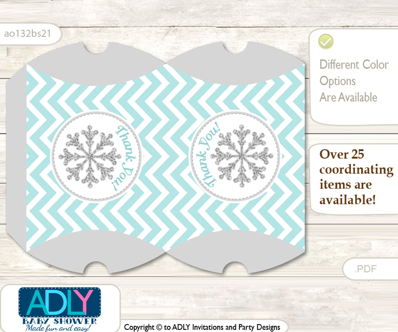 Neutral Snowflake Pillow Box For Candy Little Treats Or Small Gift Of Any Baby Shower Or Birthday Aqua Grey Chevron