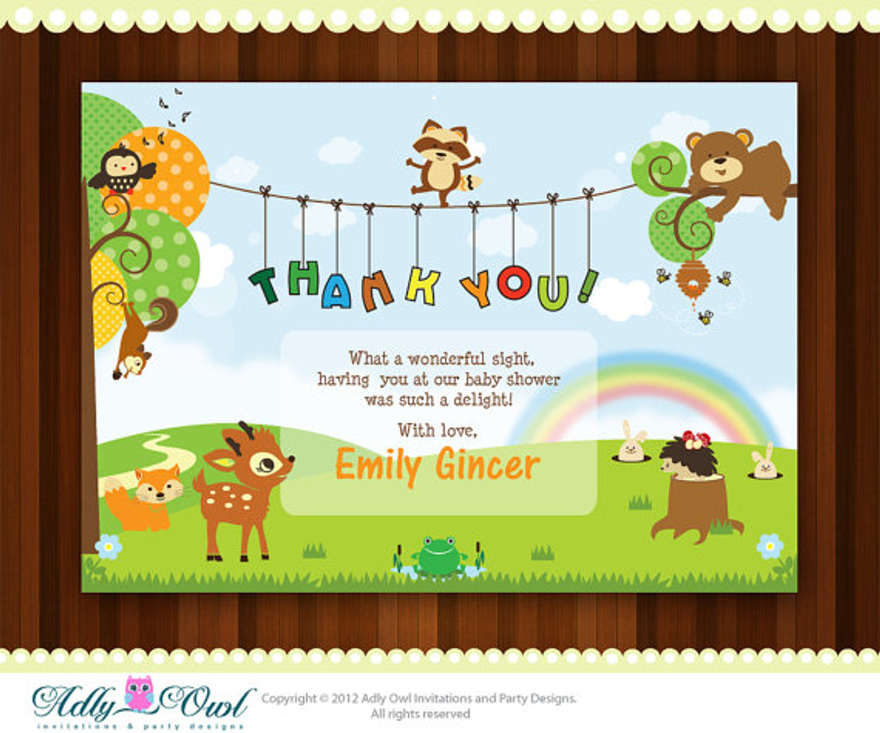 photograph about Printable Baby Shower Card called Tailored Forest/Woodland Thank on your own Little one Shower Printable Do-it-yourself card with forest pets, fawn,hadgehog,undertake,fox,frog - Just electronic document