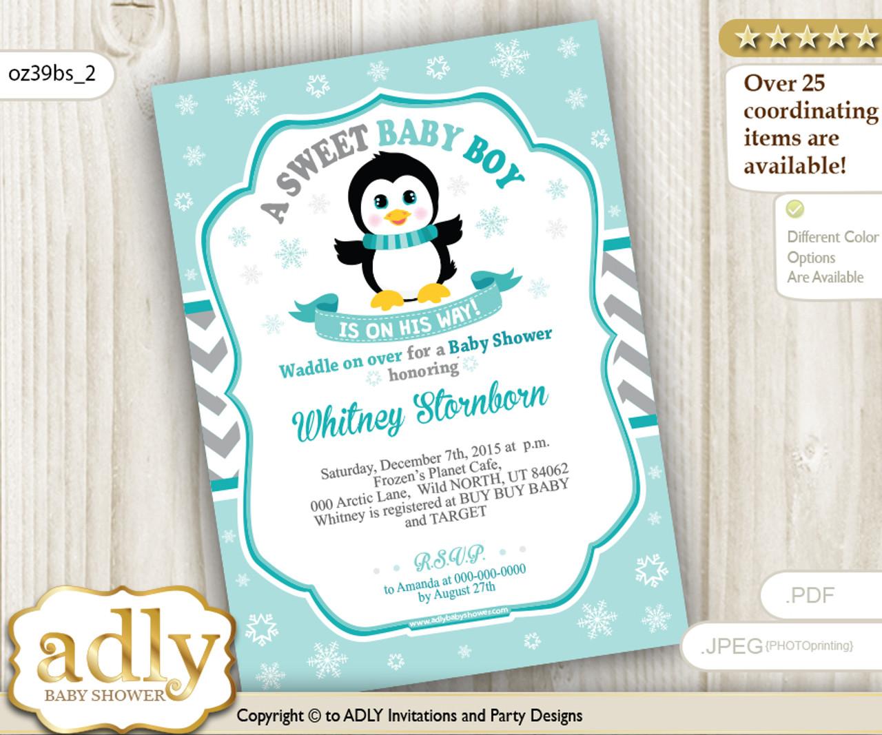 Penguin Boy Shower Invitation In Grey Chevron And Aqua Colors