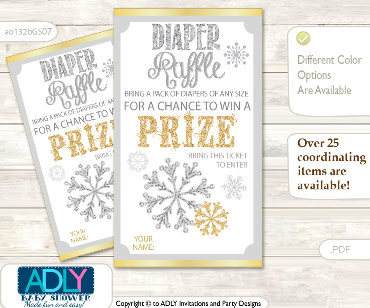 photo about Printable Tickets known as Impartial Snowflake Diaper Raffle Printable Tickets for Little one Shower, Gold, Gray