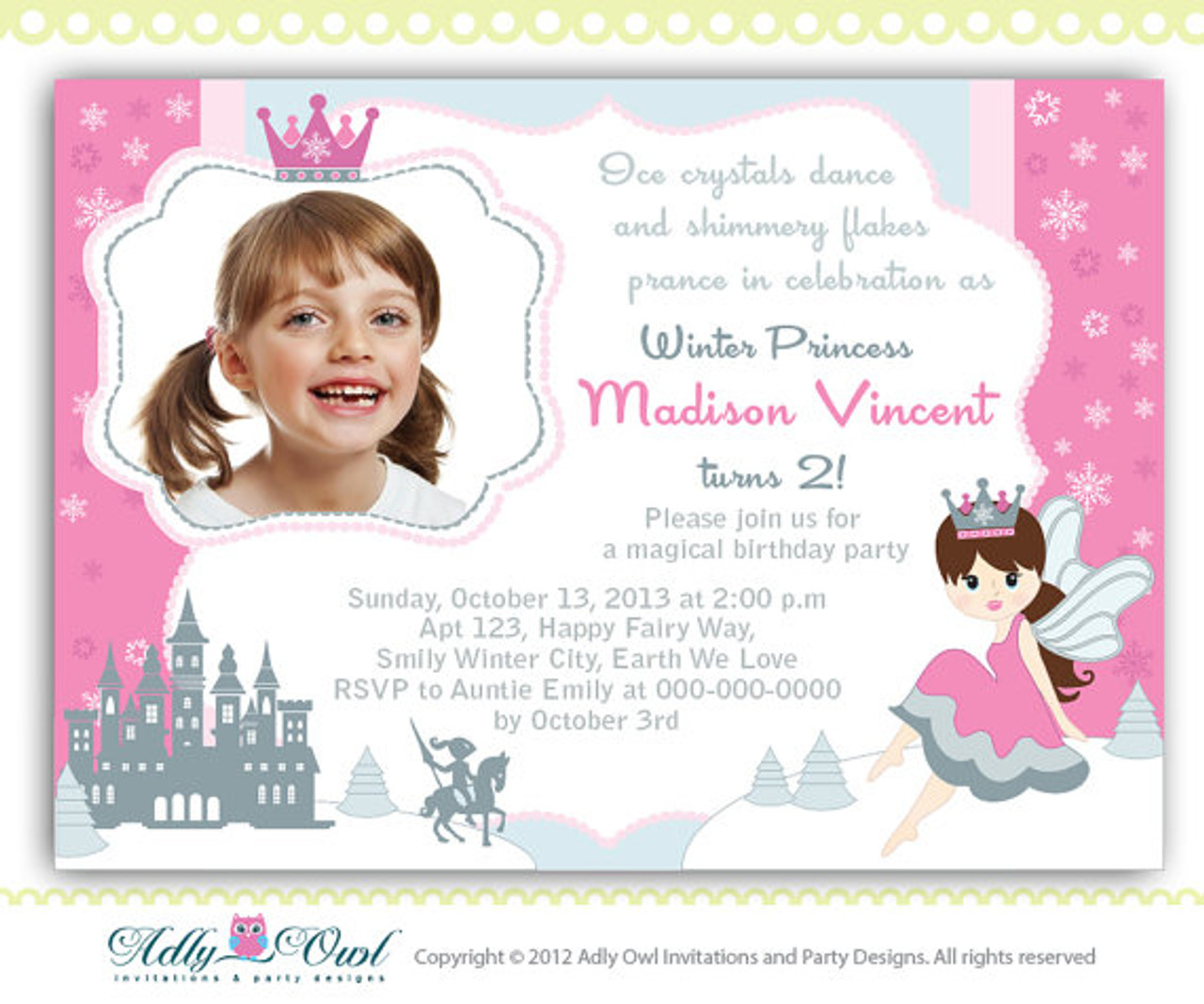 Winter Fairy Princess Girl Birthday Invitation Card With Snowflakes Castleprince Crown