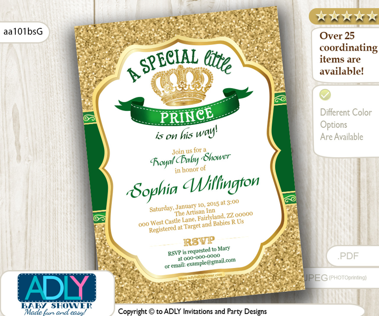 Gold Glitter And Dark Royal Green Prince Or King Baby Shower