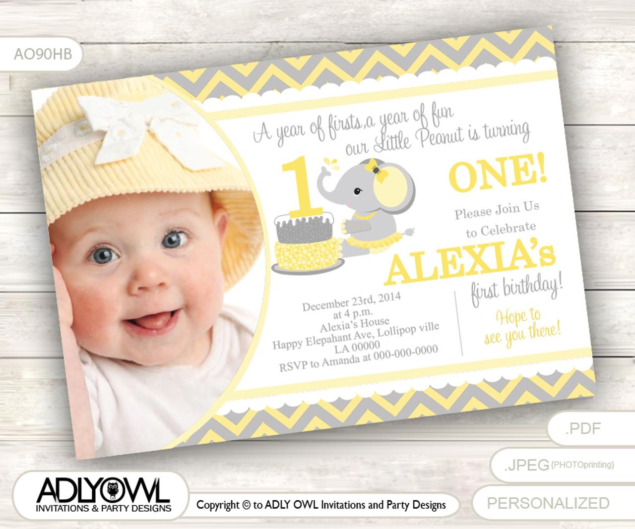 Yellow Grey Elephant First Birthday Invitation With Photograph DIY Card