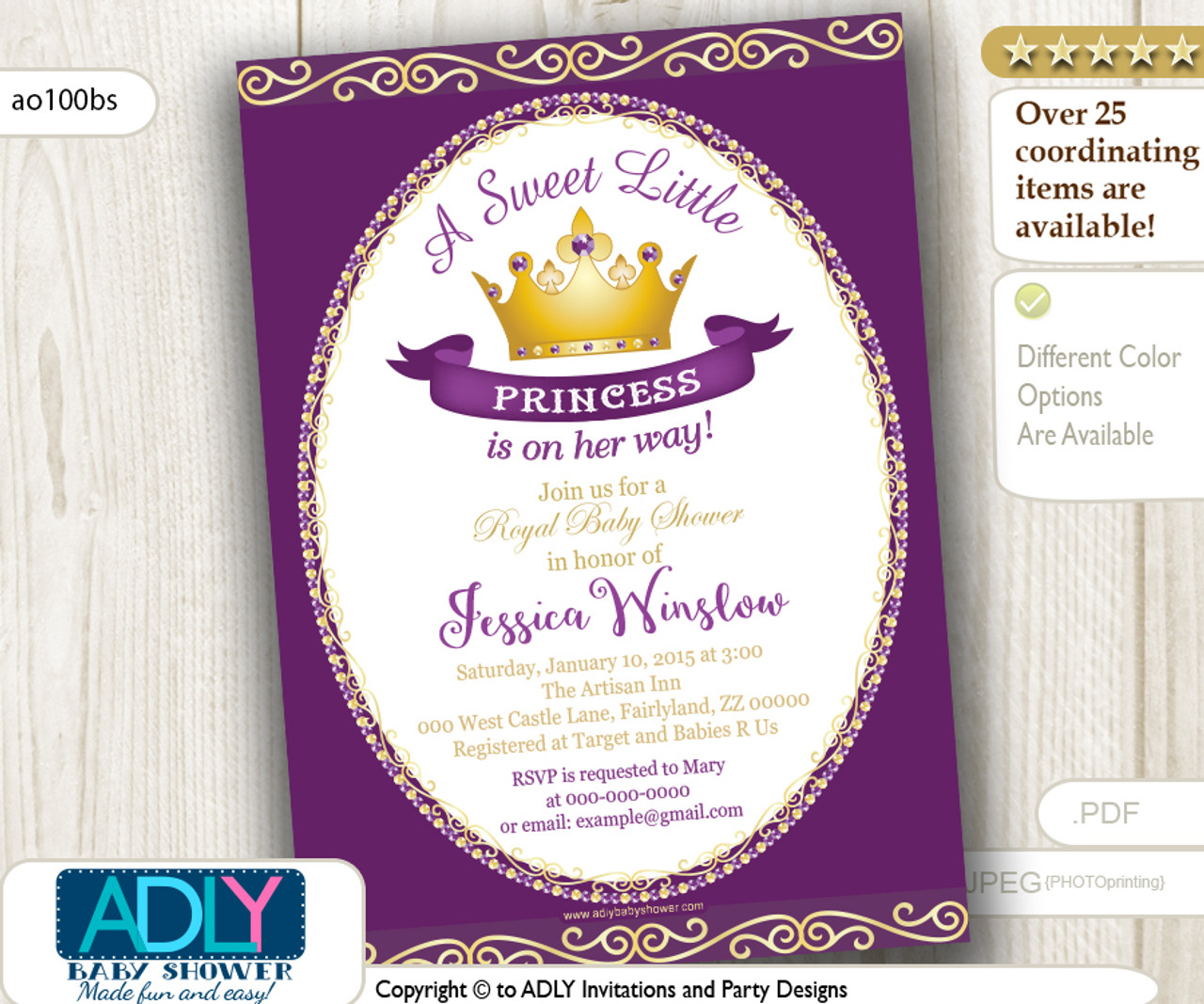 purple princess baby shower invitation for girl pink gold golden