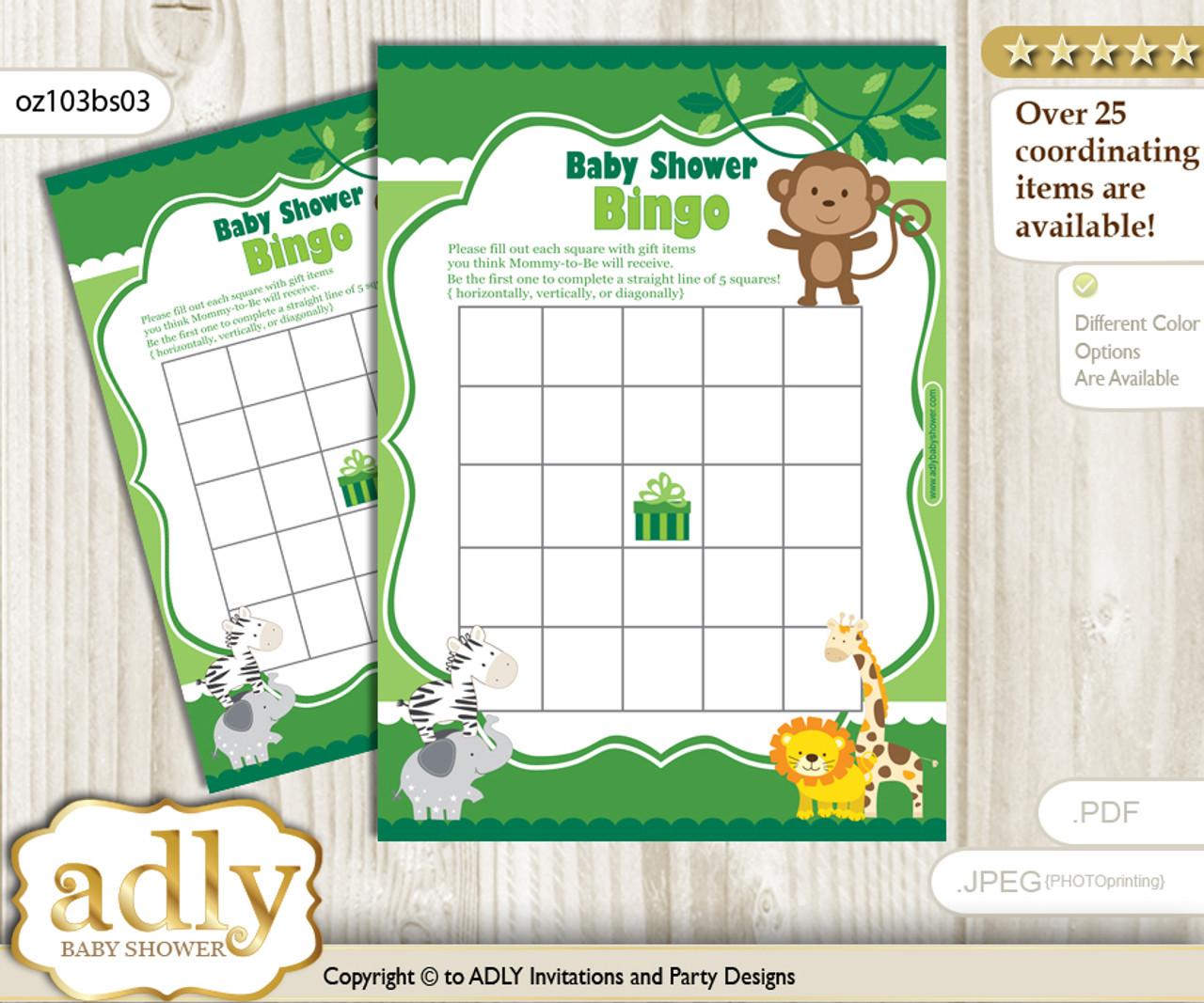 photograph regarding Animal Bingo Printable named Printable environmentally friendly Jungle Bingo Video game Printable Card for Child Boy Shower Do it yourself gray, eco-friendly, Pets
