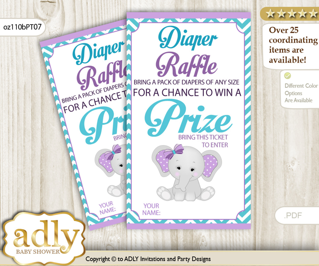 Girl Elephant Diaper Raffle Printable Tickets For Baby Shower