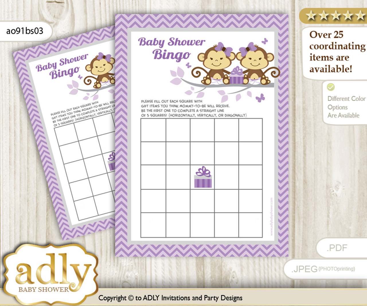 photo relating to Baby Shower Bingo Cards Printable referred to as Printable Lavender Monkey Bingo Sport Printable Card for Boy or girl Twins Shower Do it yourself gray, Lavender, Females