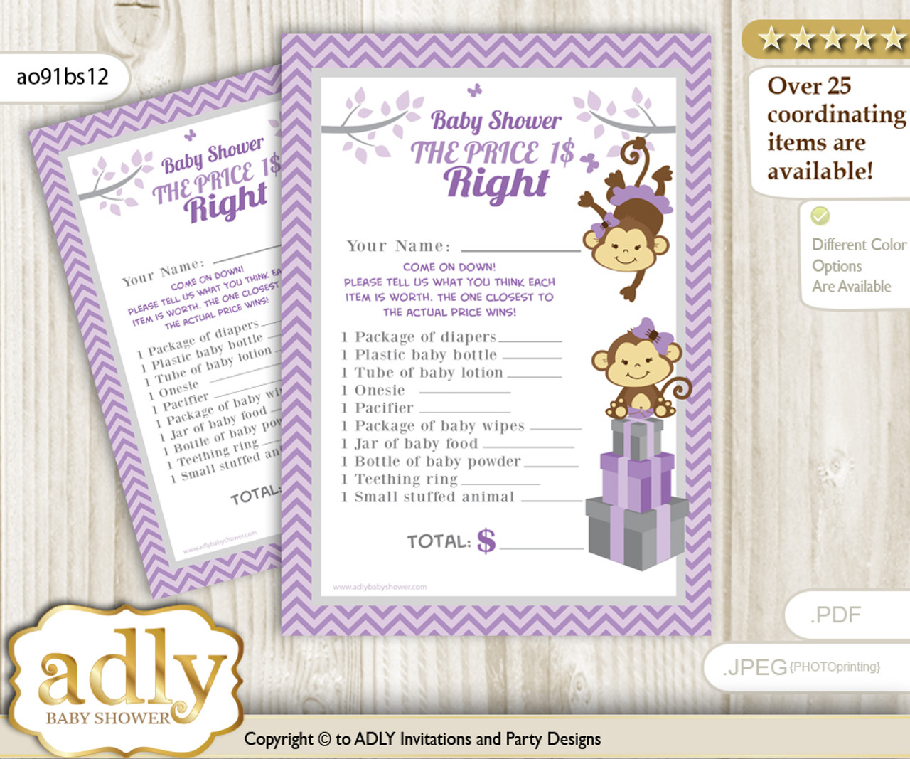 image relating to Twins Printable Schedule known as Printable Twins Monkey Value is Immediately Recreation Card for Boy or girl Monkey Shower, Lavender, Females