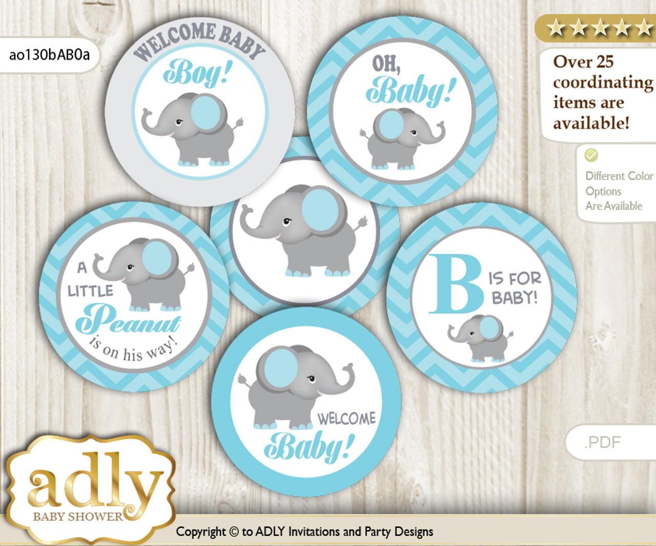 graphic relating to Printable Elephant Baby Shower identified as Kid Shower Peanut Elephant Cupcake Toppers Printable Report for Minor Peanut and Mommy-toward-be, desire tags, circle toppers, Chevron, aqua gray