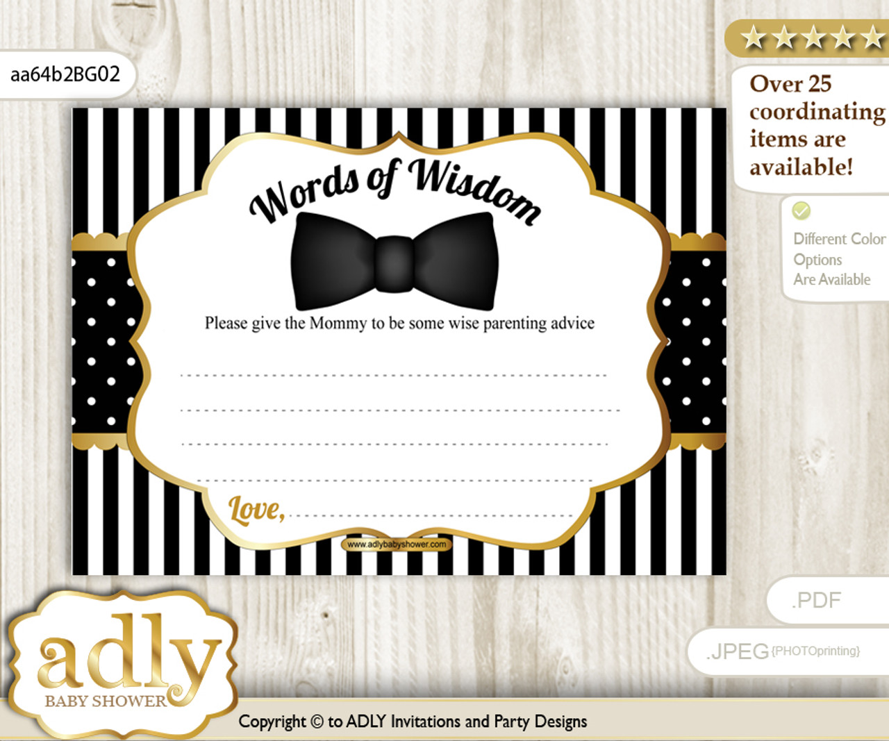 photo regarding Bow Tie Printable known as Black Gold Boy Bow Tie Words and phrases of Knowledge or an Suggestions Printable Card for Youngster Shower, Stripes