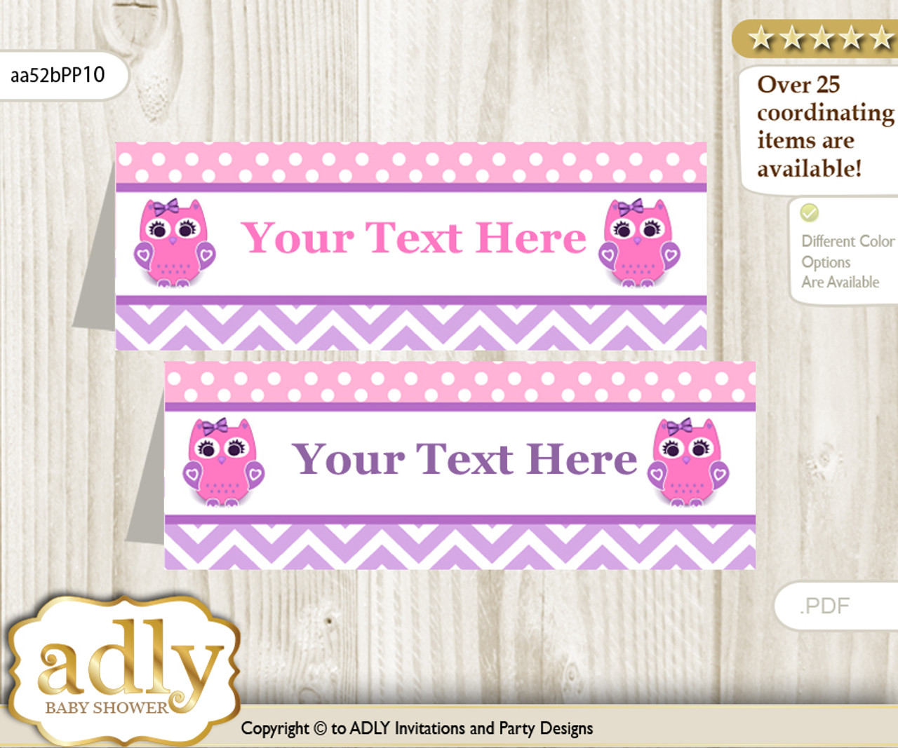 printable girl owl buffet tags or food tent labels for a baby shower