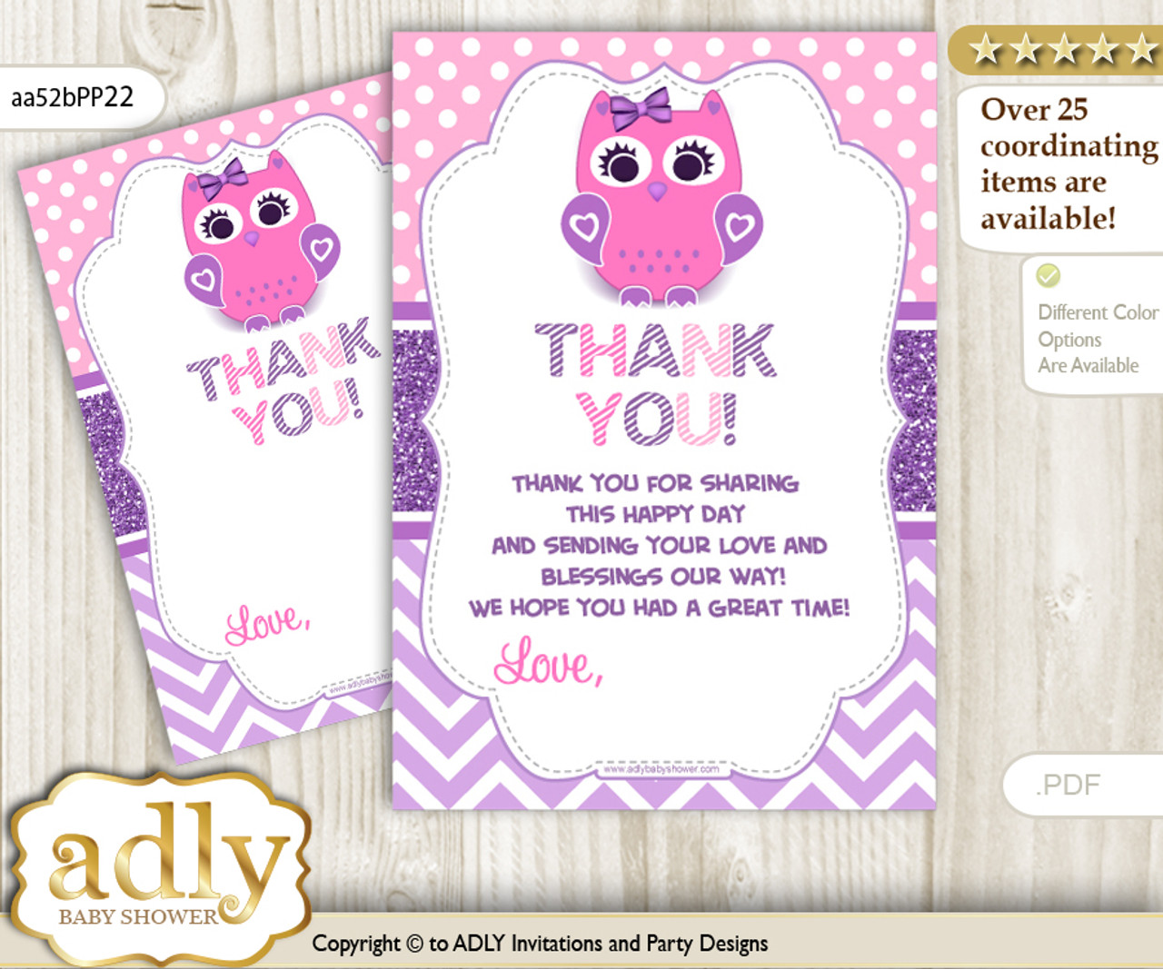 Girl Owl Thank You Cards For A Baby Girl Shower Or Birthday Diy