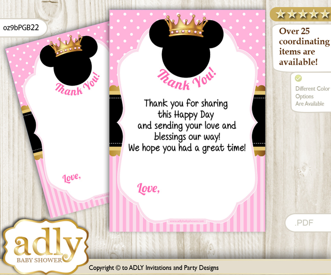 Minnie Mouse Thank You Cards For A Baby Shower Or Birthday DIY Pink Gold Princess