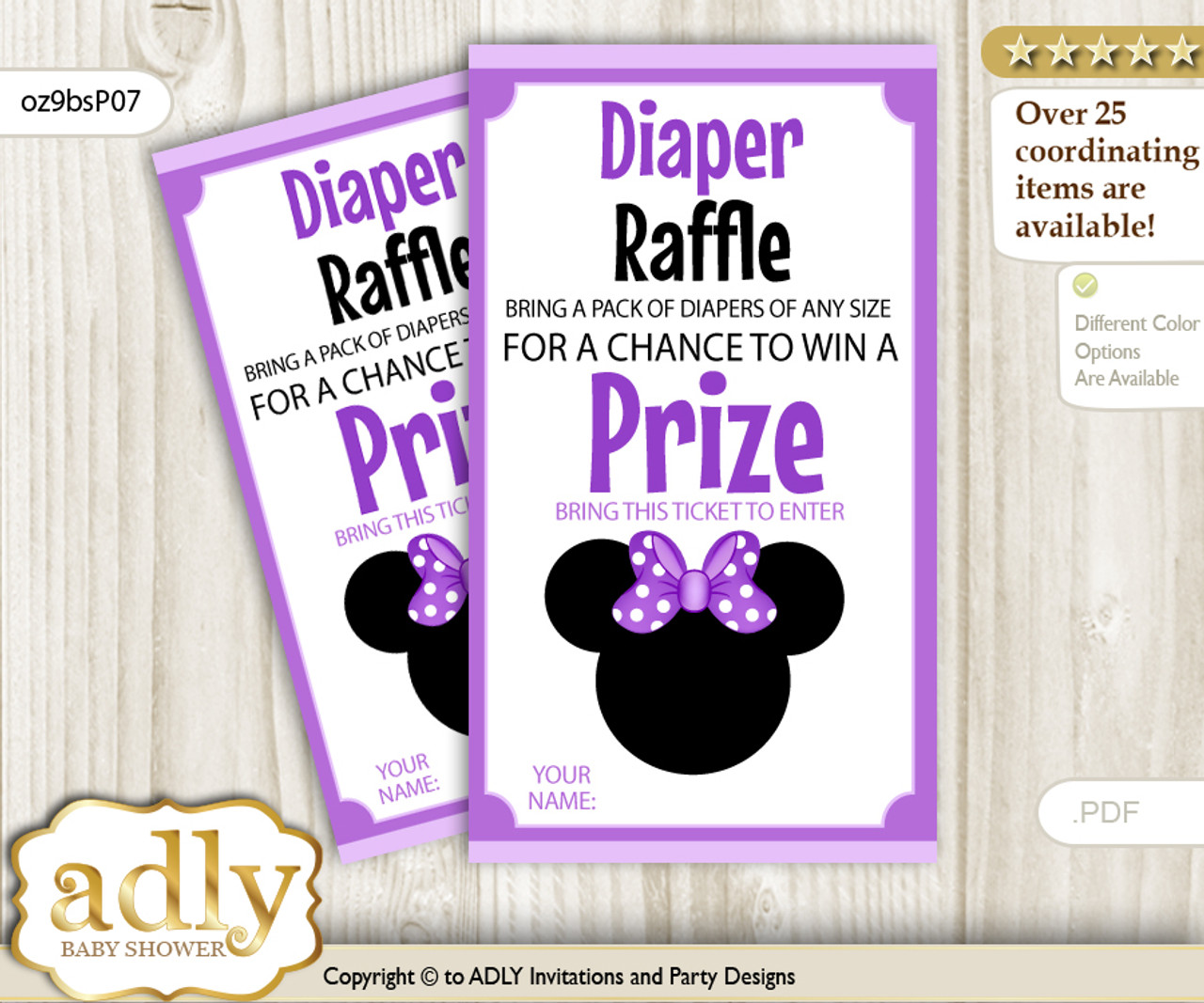 Minnie Mouse Diaper Raffle Printable Tickets For Baby Shower Purple