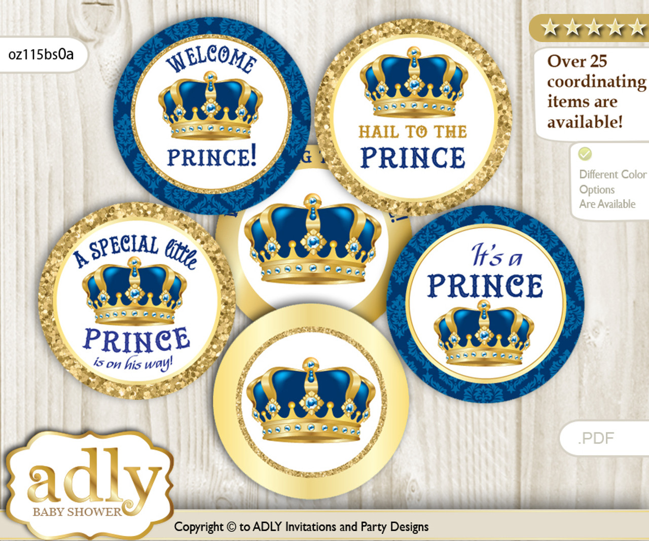 Baby Shower King Prince Cupcake Toppers Printable File For Little