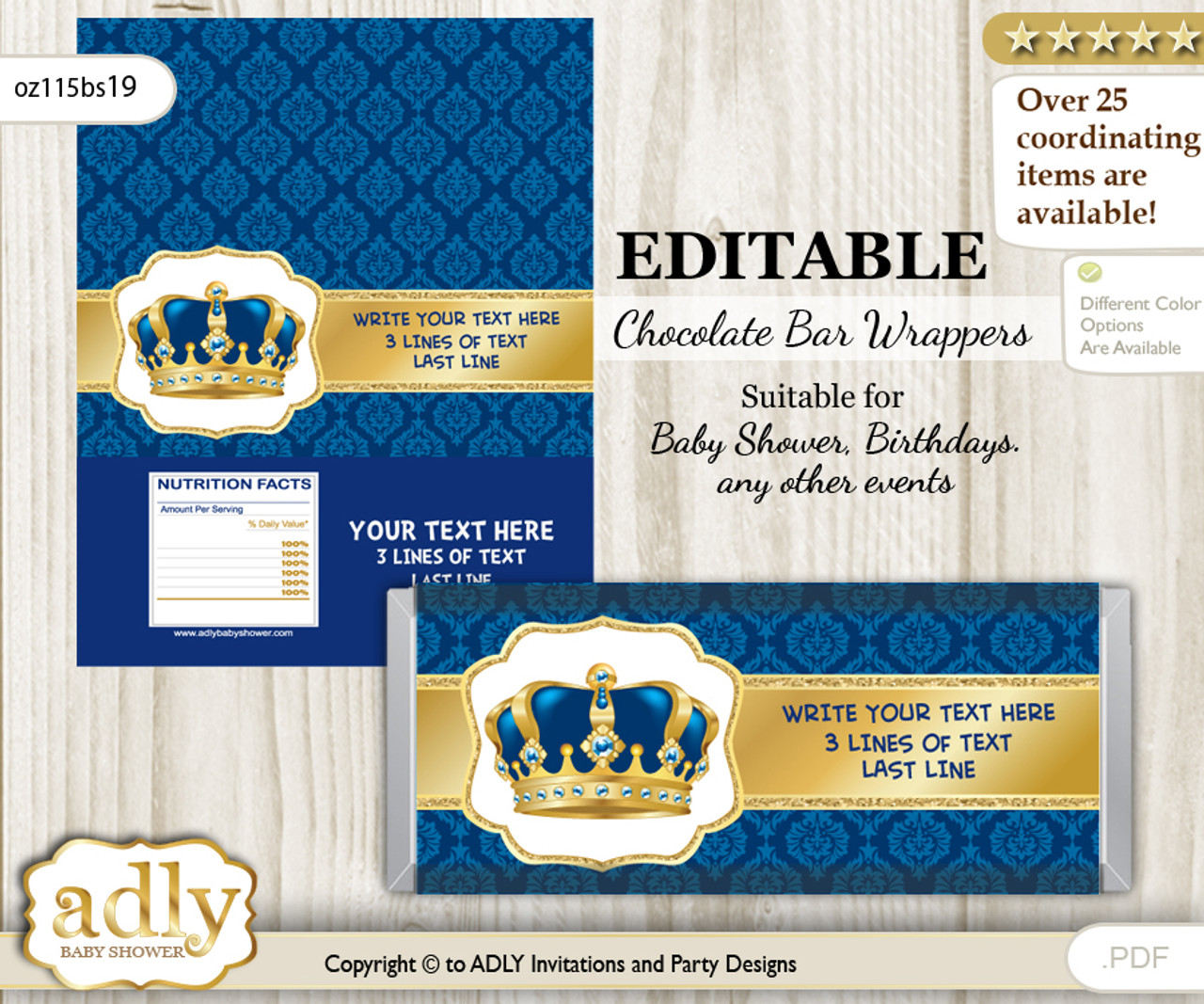 Personalizable King Prince Chocolate Bar Candy Wrapper Label For