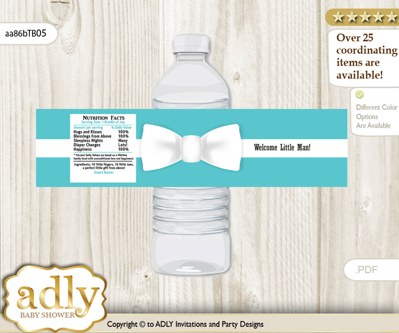 43c067c545 Boy Bow tie Water Bottle Wrappers, Labels for a Bow tie Baby Shower, White,  Tiffany Co - ADLY Invitations and Digital Party Designs