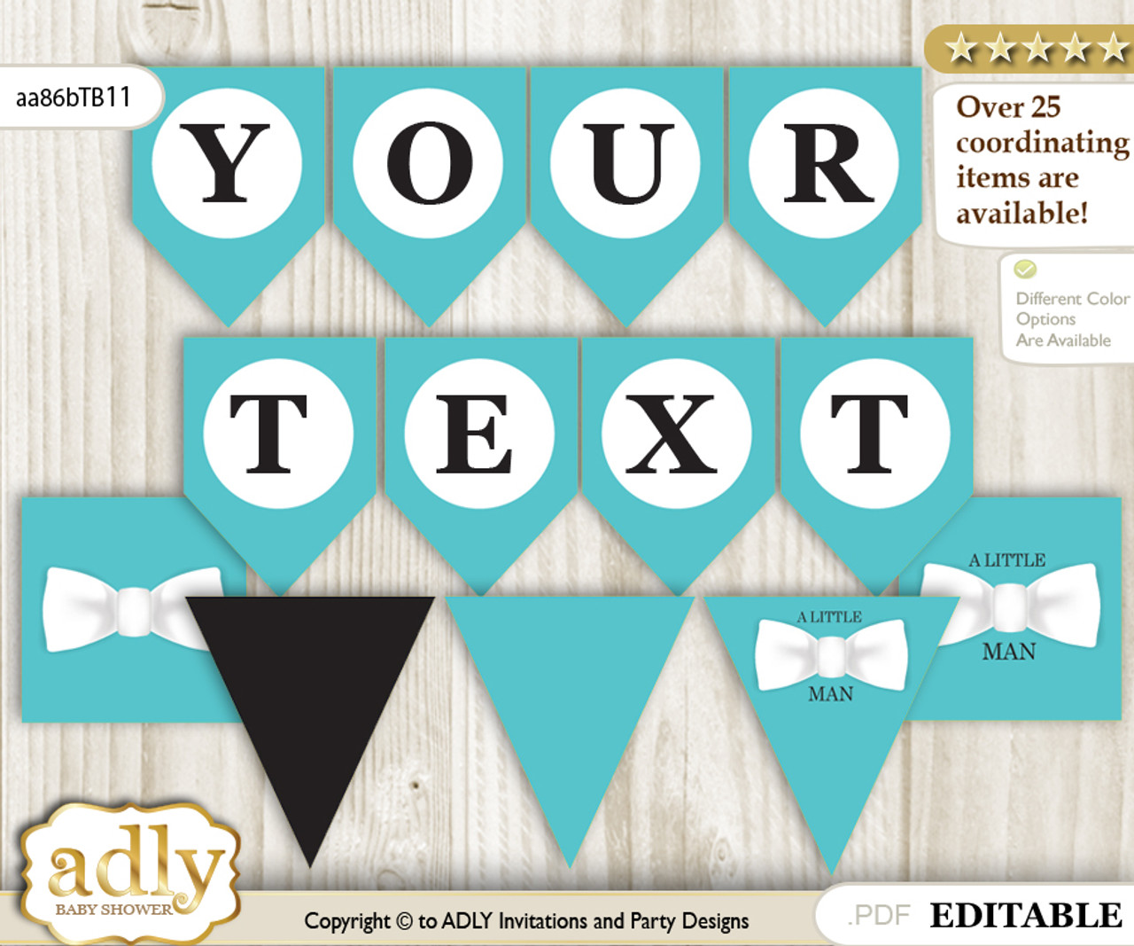 Personalized Boy Bow Tie Printable Banner For Baby Shower White