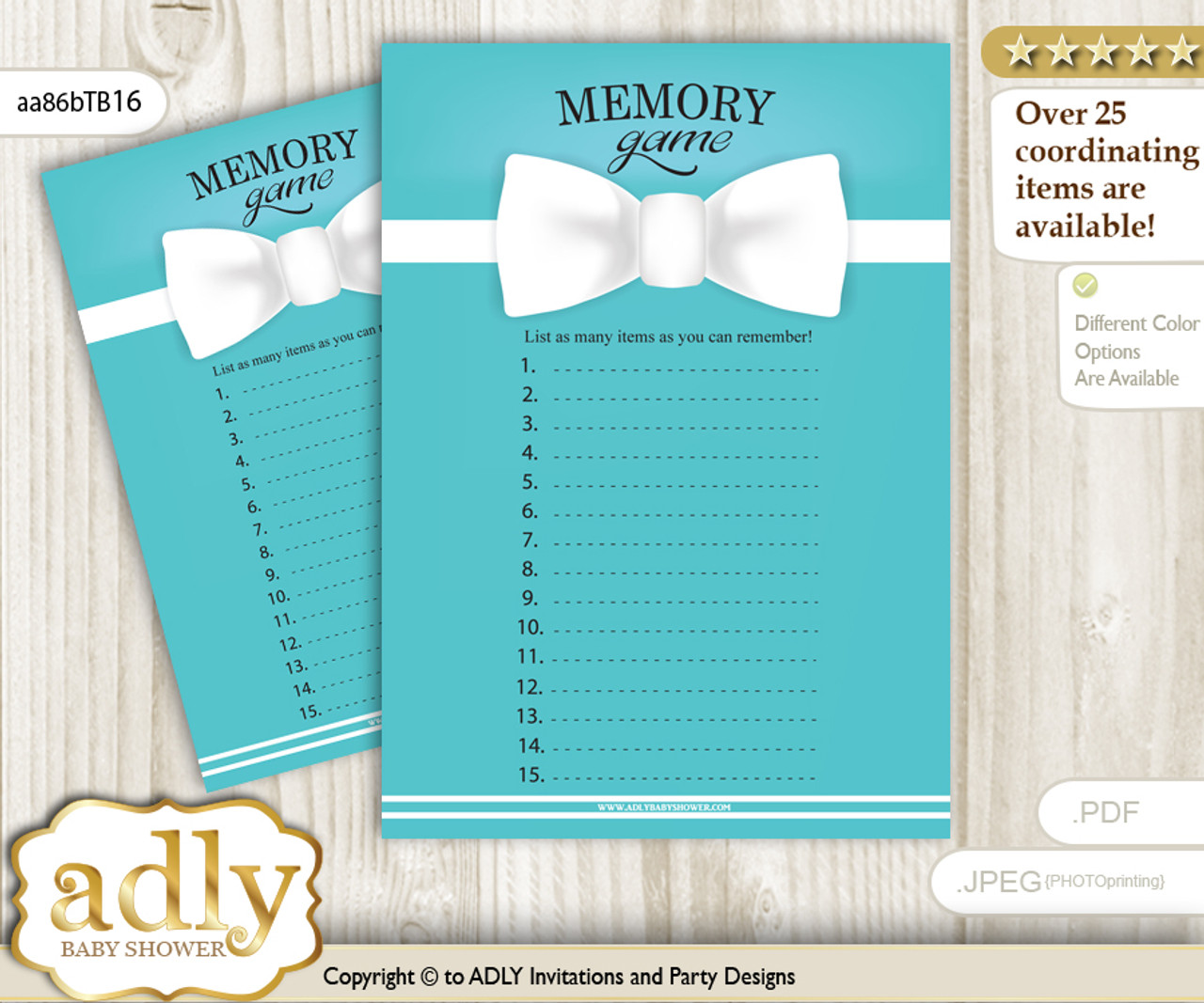 Boy Bow Tie Memory Game Card For Baby Shower Printable Guess Card